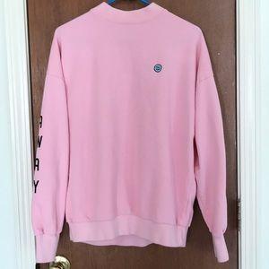 Lazy Oaf Pink Moody Faces Sweatshirt Sz Small